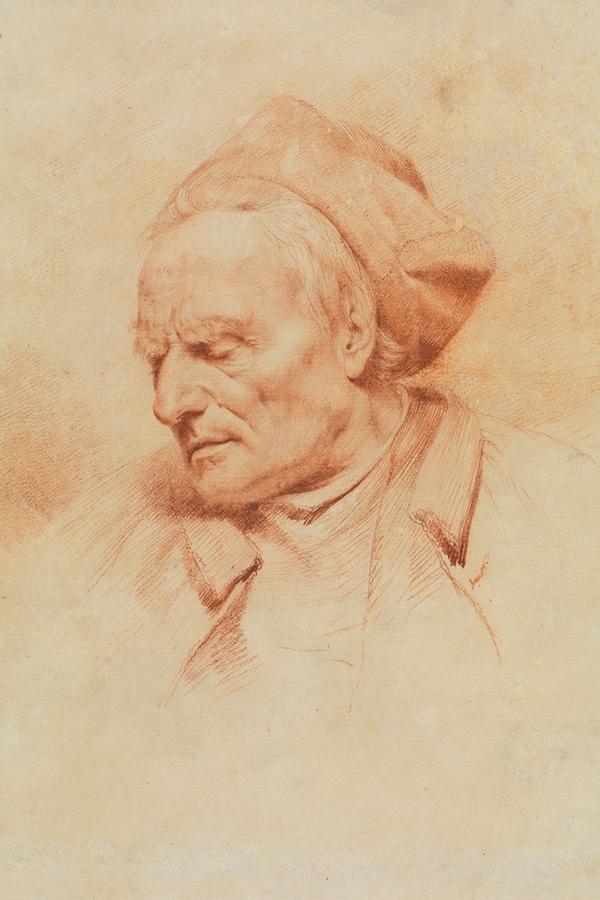 Eine Abbildung der Zeichnung Kopf eines alten Mannes aus der Staatlichen Kunsthalle Karlsruhe. Der Künstler Jean-Jacques de Boissieu schuf diese zwischen 1770 und 1773.