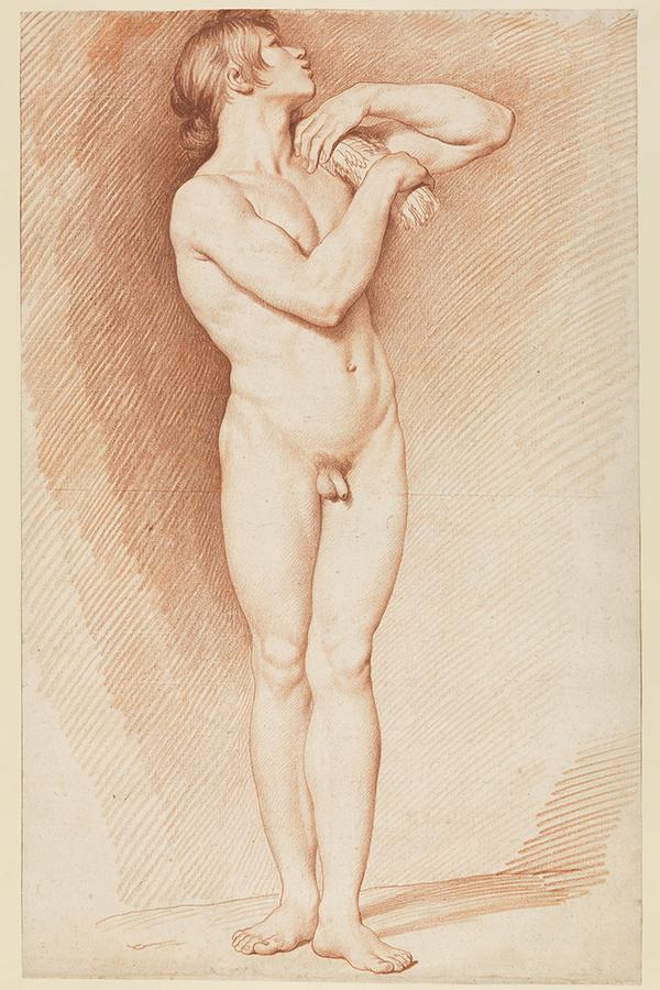 Eine Abbildung der Zeichnung Modell für den Genius des Sommers der »Fontaine de grenelle« aus der aus der Staatlichen Kunsthalle Karlsruhe. Der Künstler Edme Bouchardon schuf diese zwischen 1739 und 1745.