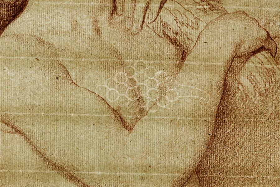 Abbildung eines Details von des Werks von Edme Bouchardon: Modell für den Genius des Sommers der »Fontaine de grenelle«, das zwischen 1739 und 1745 entstand und in der Ausstellung sehen denken träumen in der Staatlichen Kunsthalle Karlsruhe zu sehen ist.