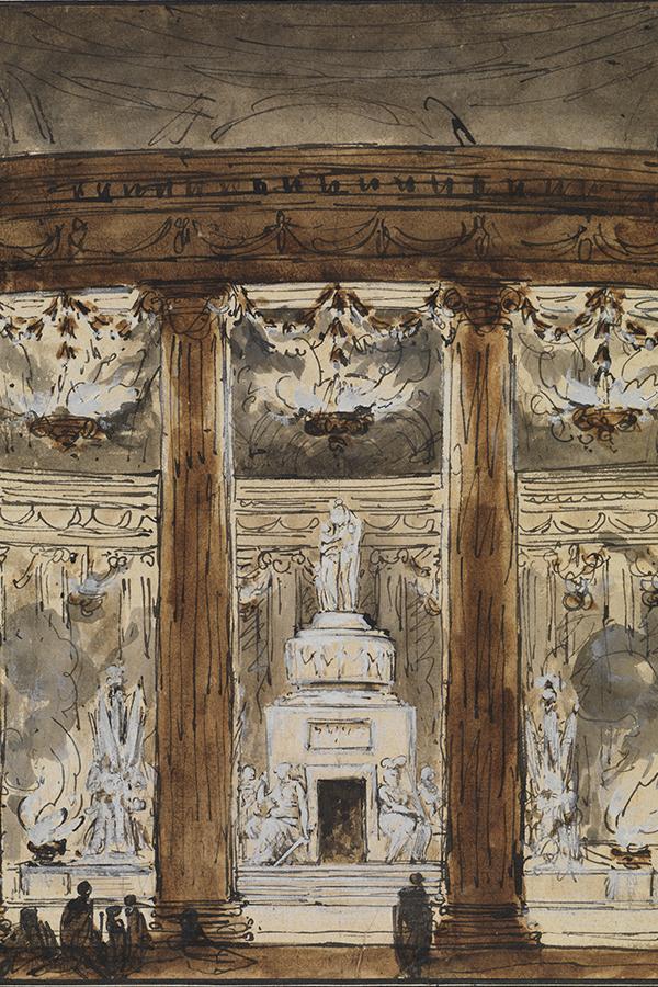 Eine Abbildung der Zeichnung Blick in ein Mausoleum aus der Staatlichen Kunsthalle Karlsruhe. Der Künstler Charles-Michel-Ange Challe schuf diese nach 1764.