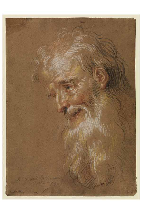 Eine Abbildung der Zeichnung Kopf eines bärtigen alten Mannes aus der Staatlichen Kunsthalle Karlsruhe. Der Künstler Antoine Coypel schuf diese 1679.
