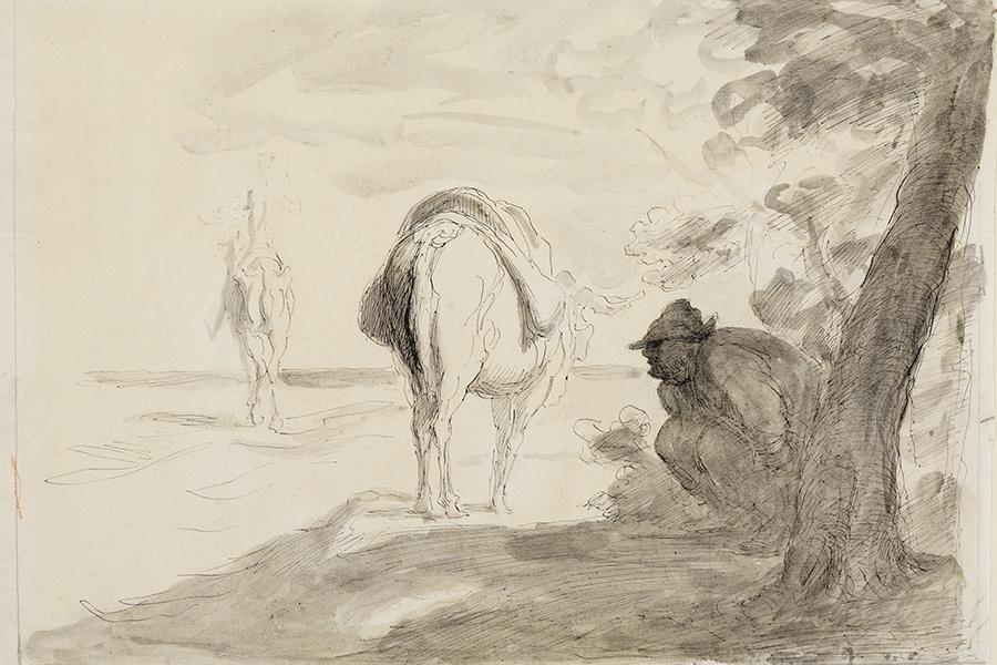 Eine Abbildung Honorè Daumiers Zeichnung Don Quijote und Sancho Pansa aus der Staatlichen Kunsthalle Karlsruhe.