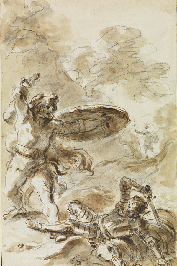 Eine Abbildung der Zeichnung Roger beobachtet den Kampf zwischen einem Riesen und einem Ritter aus der Staatlichen Kunsthalle Karlsruhe. Der Künstler Jean-Honoré Fragonard schuf diese in den 1780er Jahren.
