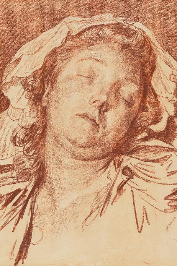 Eine Abbildung der Zeichnung Kopf einer Schlafenden (Anne-Gabrielle Babuti) aus der Staatlichen Kunsthalle Karlsruhe. Der Künstler Jean-Baptiste Greuze schuf diese vor 1777.