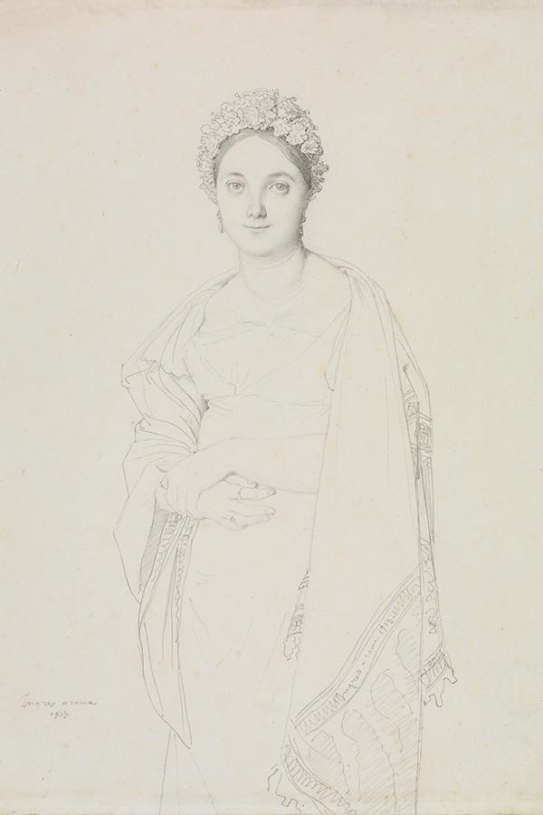 Eine Abbildung der Zeichnung Adèle Maizony de Lauréal in Dreiviertelfigur aus der Staatlichen Kunsthalle Karlsruhe. Der Künstler Jean-Auguste-Dominique Ingres schuf diese 1813.