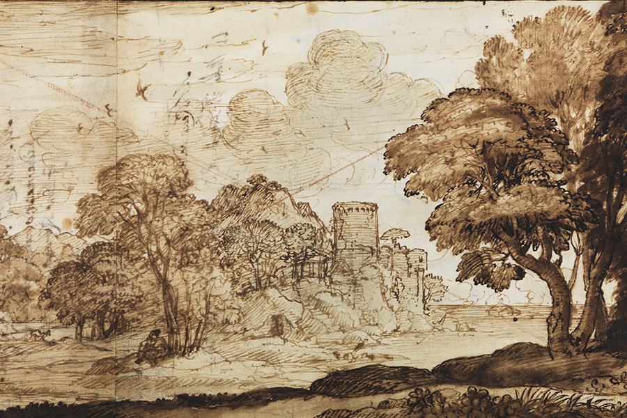 Eine Abbildung der Zeichnung  Landschaft mit Psyche vor dem Palast Amors aus der aus der Staatlichen Kunsthalle Karlsruhe. Der Künstler Claude Lorrain schuf diese 1633.
