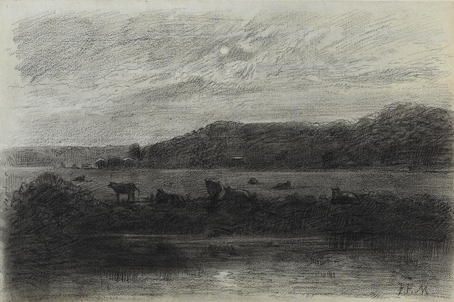 Eine Abbildung der Zeichnung Flusslandschaft mit Viehweide bei Vollmond aus der Staatlichen Kunsthalle Karlsruhe. Der Künstler Jean-François Millet schuf diese vermutlich 1845.